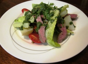 Quick lamb salad with salsa verde and lentils