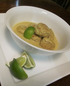 Pork meatballs in a fragrant coconut broth