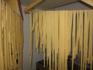 My first attempt at pasta at home - and yes, it is hanging on coat hangers.