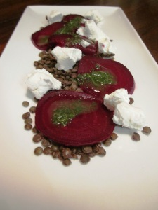 Beetroot and goats cheese salad with lentils
