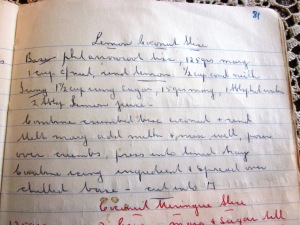 Nanna's original handwritten recipe