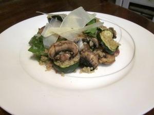 pancetta, mushroom and zucchini salad