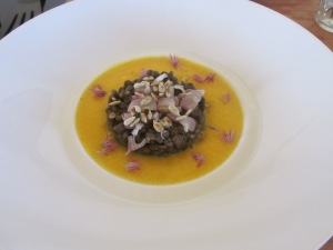 Carrot veloute with lentils