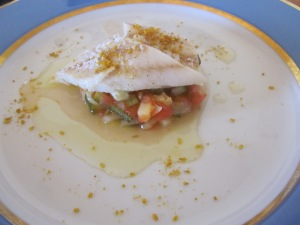 Fish with tomatoes and zucchini