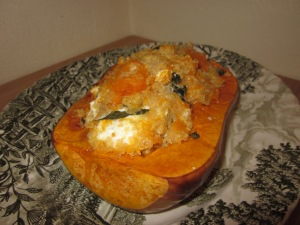 Pumpkin stuffed with quinoa and goats' cheese