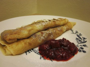 Crepes with rhubarb and raspberry compote 3
